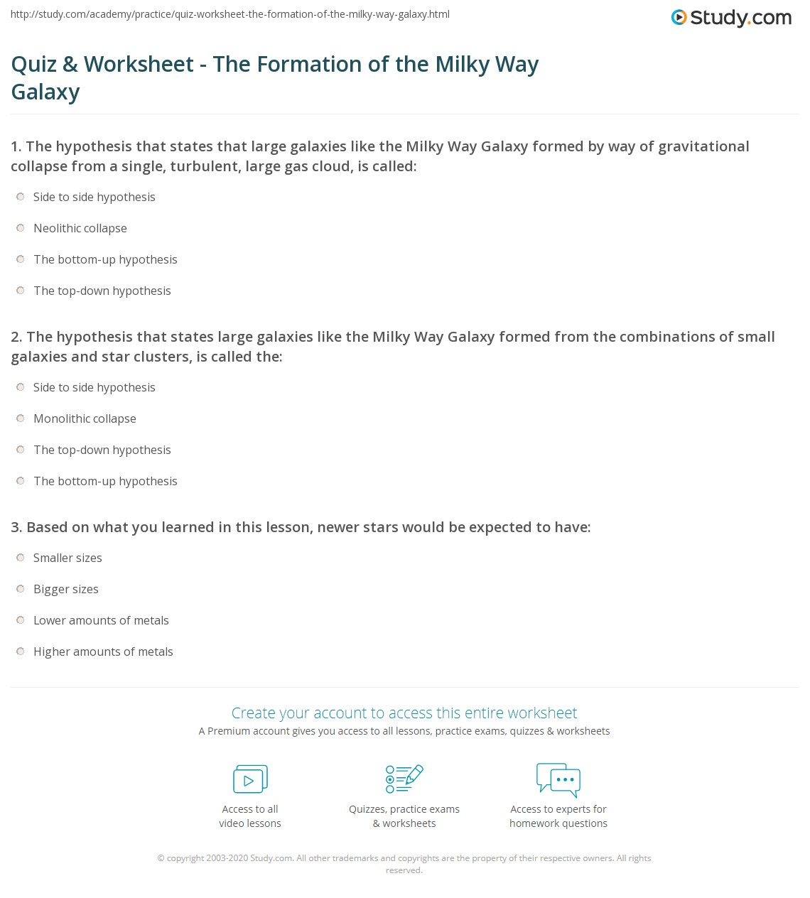 worksheet Types Of Galaxies Worksheet quiz worksheet the formation of milky way galaxy study com print worksheet