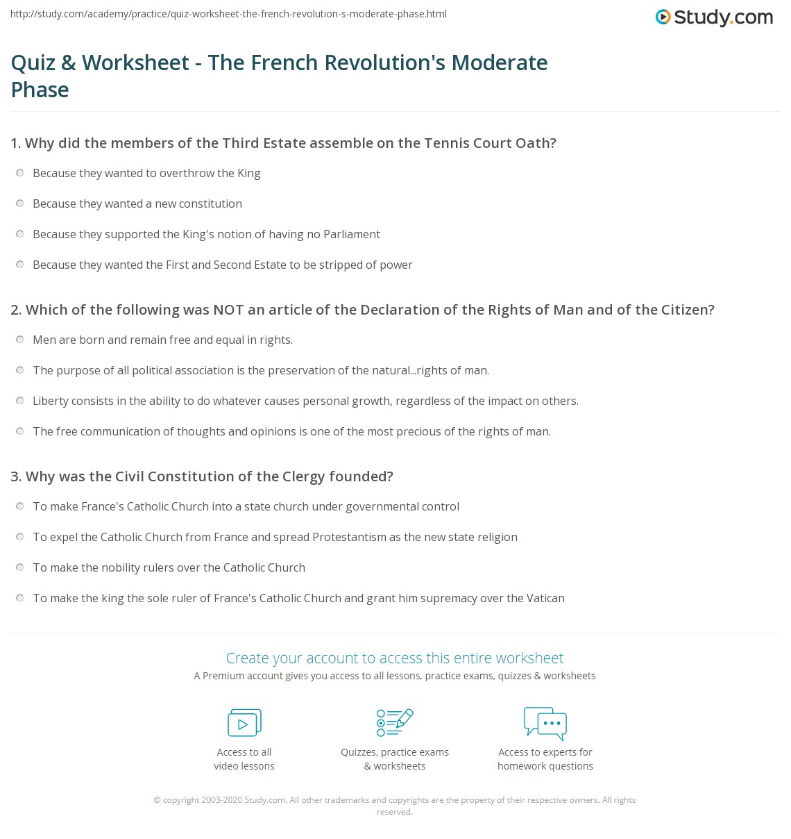 quiz worksheet the french revolution s moderate phase com print the constitutional monarchy declaration of the rights of man and citizen the civil constitution worksheet