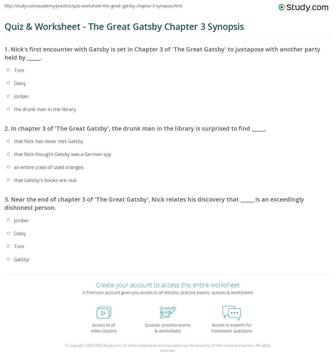 Quiz Worksheet The Great Gatsby Chapter 3 Synopsis
