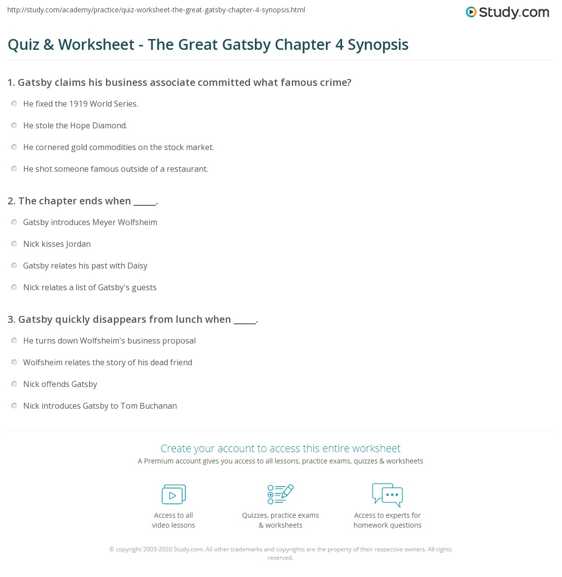 quiz worksheet the great gatsby chapter synopsis com print the great gatsby chapter 4 summary worksheet