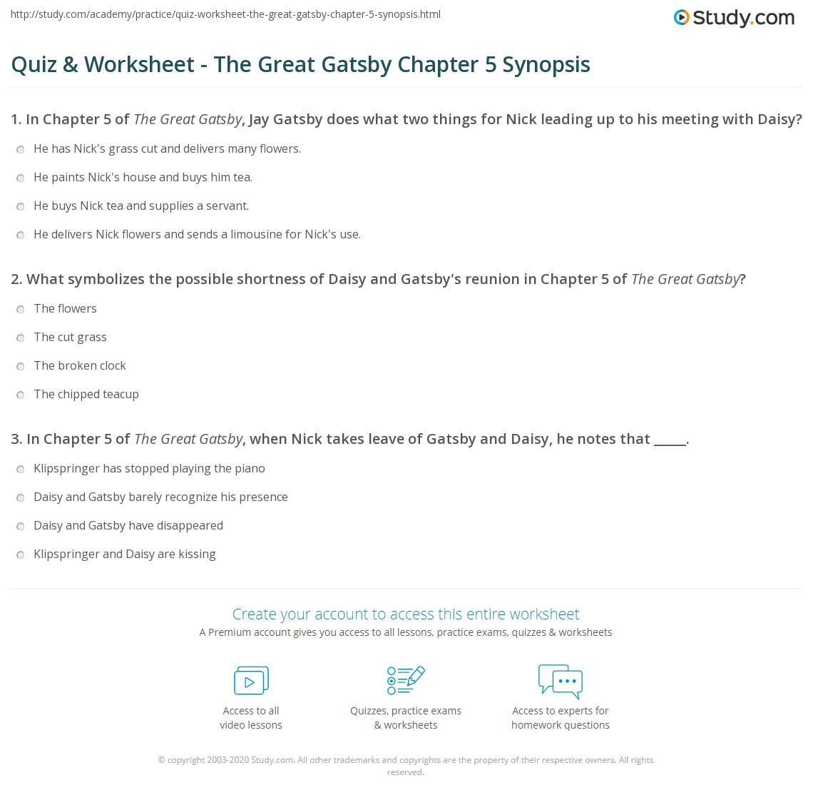 quiz worksheet the great gatsby chapter 5 synopsis com print the great gatsby chapter 5 summary worksheet