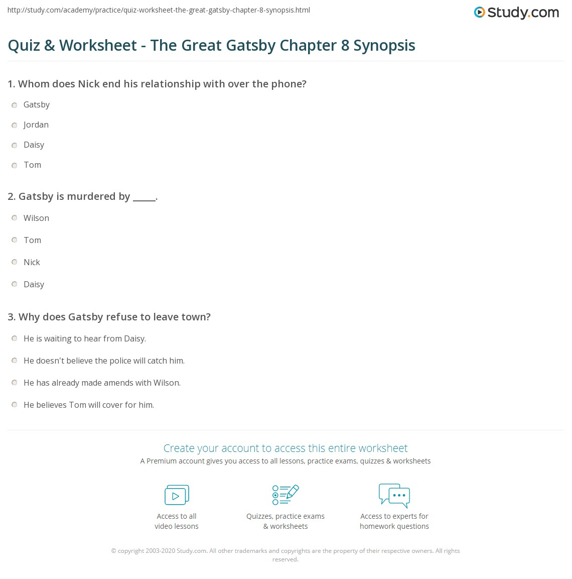 quiz worksheet the great gatsby chapter synopsis com print the great gatsby chapter 8 summary worksheet