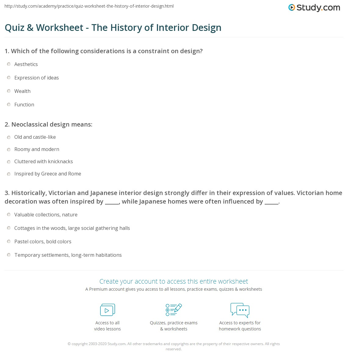 Print The History Of Interior Design Worksheet