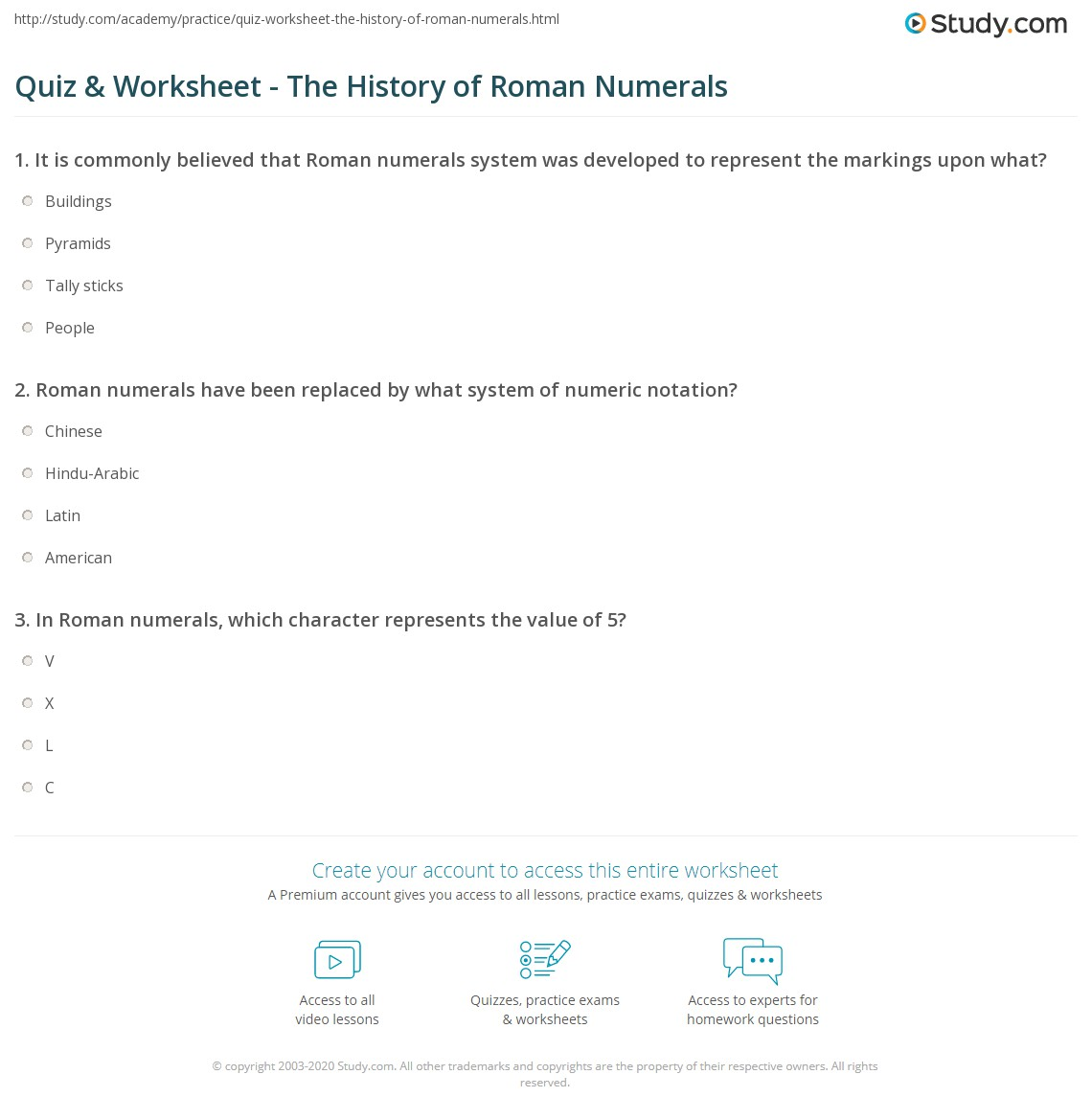 Quiz Worksheet The History of Roman Numerals – Roman Numeral Worksheet