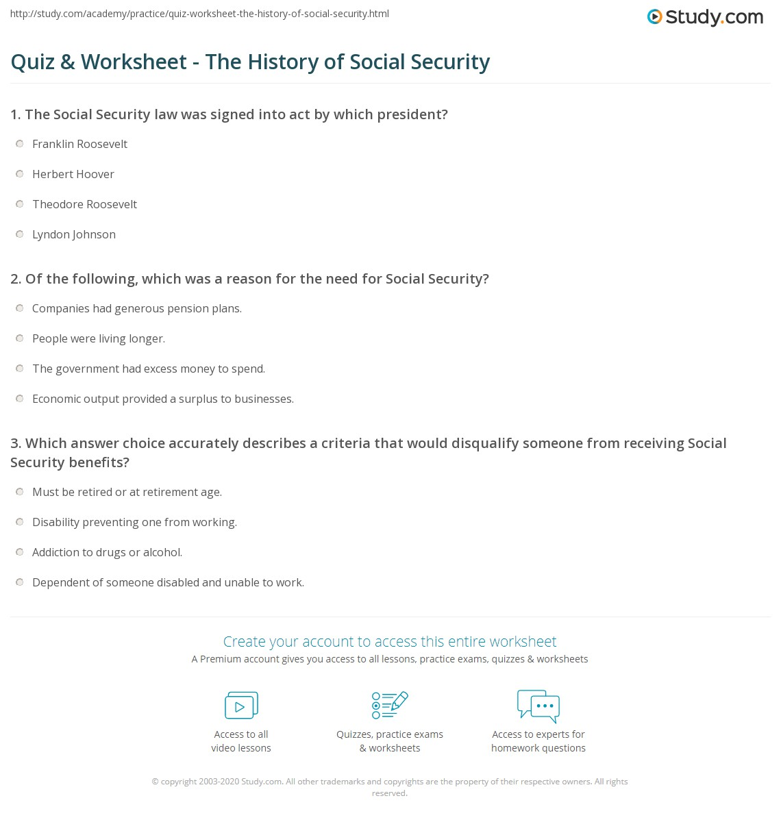 Printables Social Security Worksheet quiz worksheet the history of social security study com print facts timeline worksheet