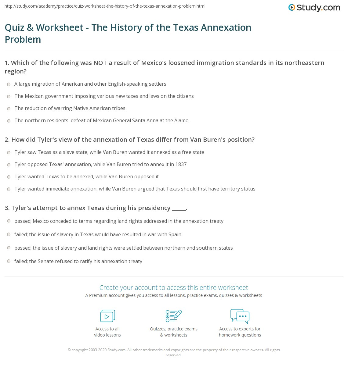 Quiz Worksheet The History of the Texas Annexation Problem – Texas History Worksheets