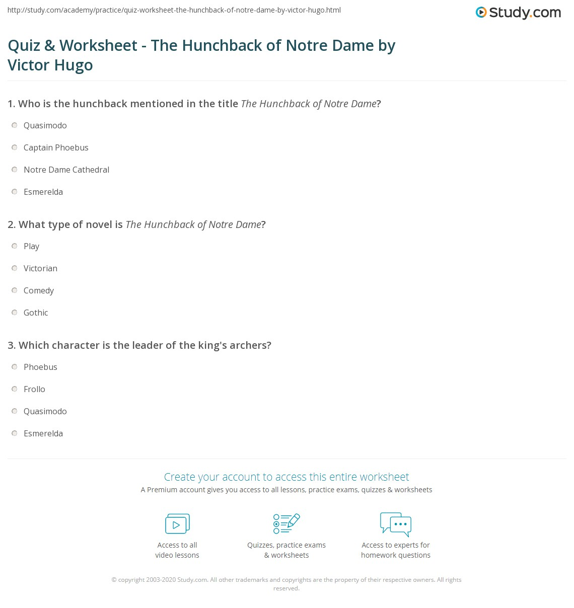 quiz worksheet the hunchback of notre dame by victor hugo print the hunchback of notre dame summary characters worksheet