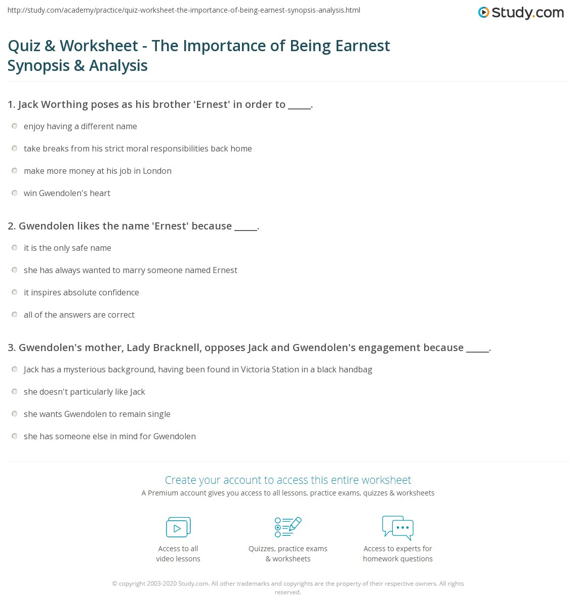 quiz worksheet the importance of being earnest synopsis analysis. Black Bedroom Furniture Sets. Home Design Ideas