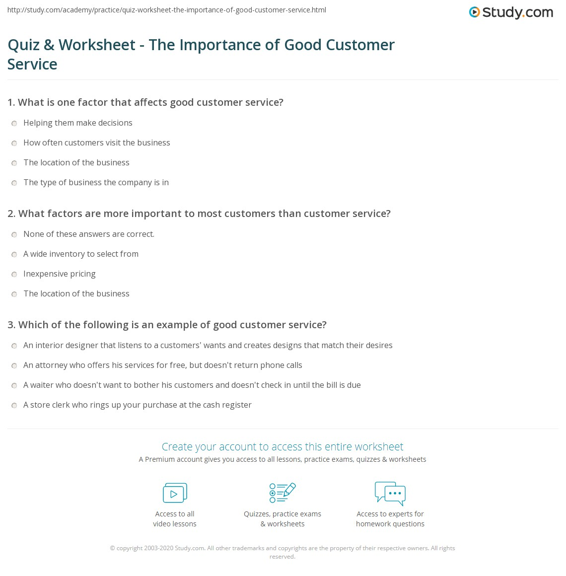 quiz worksheet the importance of good customer service study com print the importance of good customer service worksheet