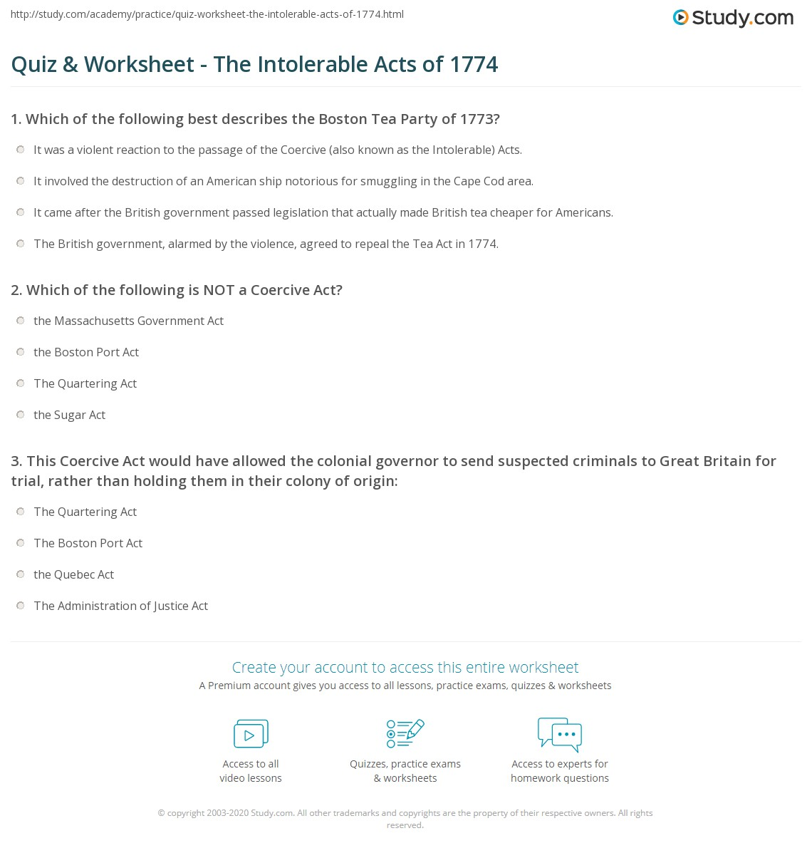 quiz worksheet the intolerable acts of com print the intolerable acts of 1774 definition summary significance worksheet