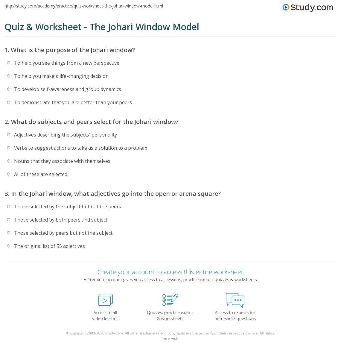 Worksheets Johari Window Worksheet quiz worksheet the johari window model study com print of group dynamics worksheet