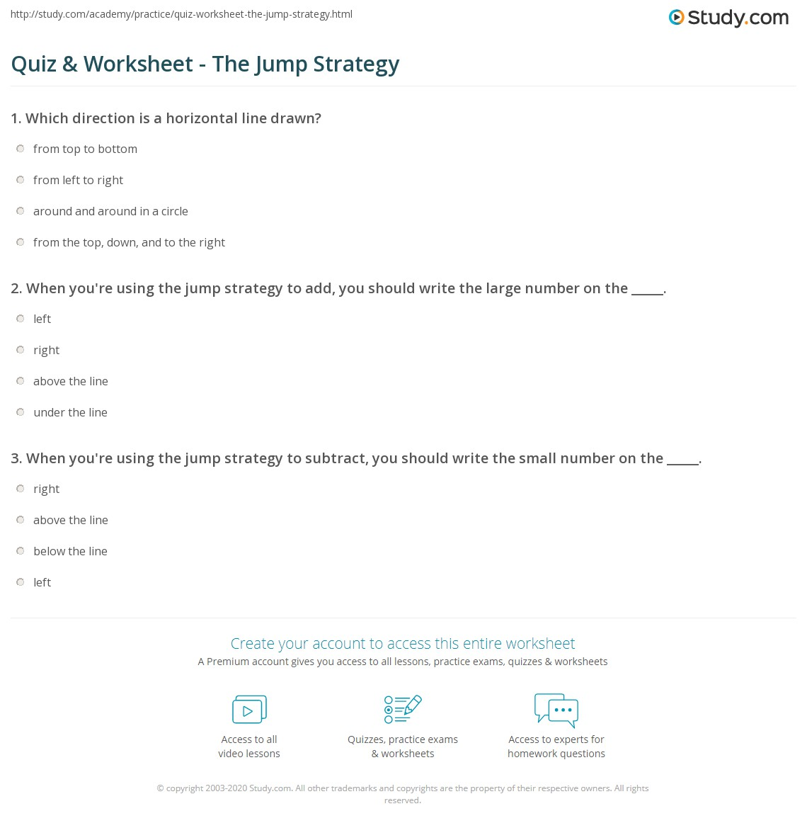 Quiz Worksheet The Jump Strategy – Jump Math Worksheets