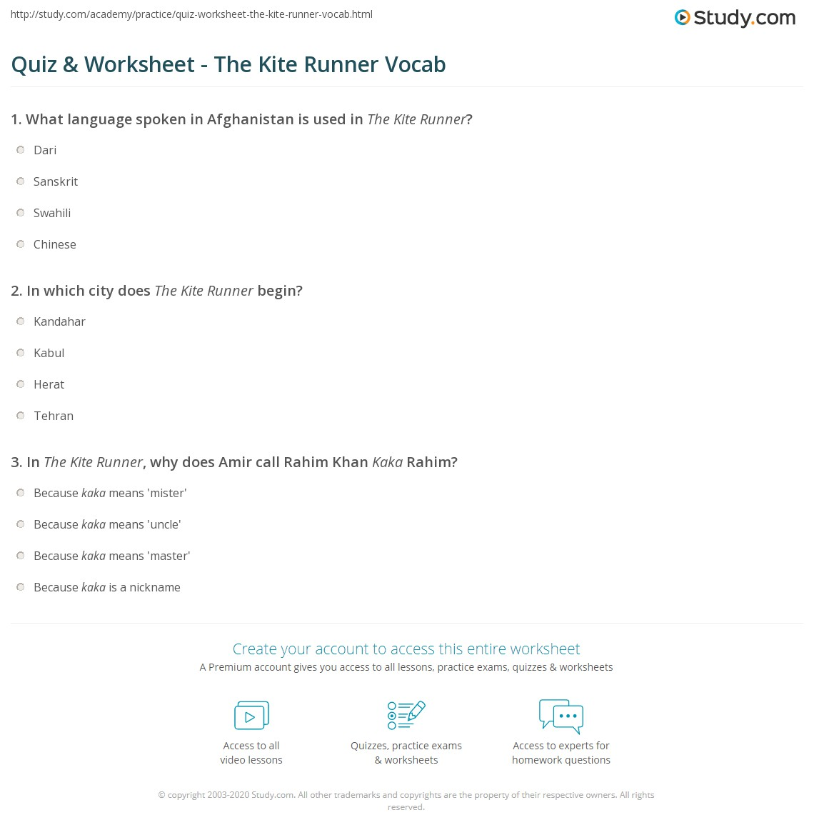 the kite runner analysis essay quiz worksheet the kite runner  quiz worksheet the kite runner vocab com print the kite runner vocabulary worksheet