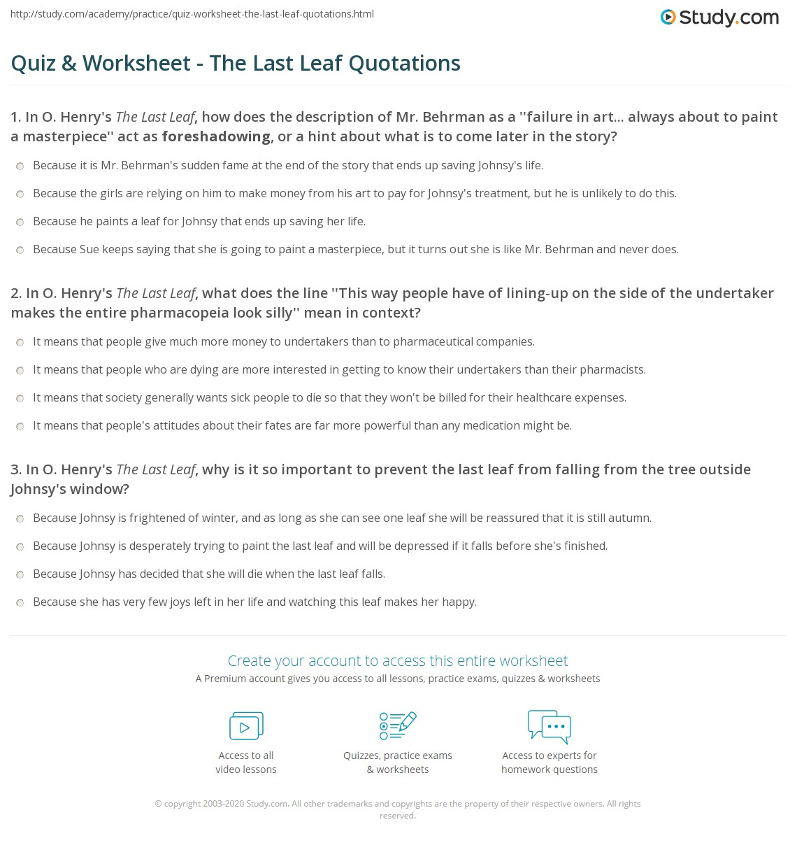 Quiz Worksheet The Last Leaf Quotations – Quotations Worksheet