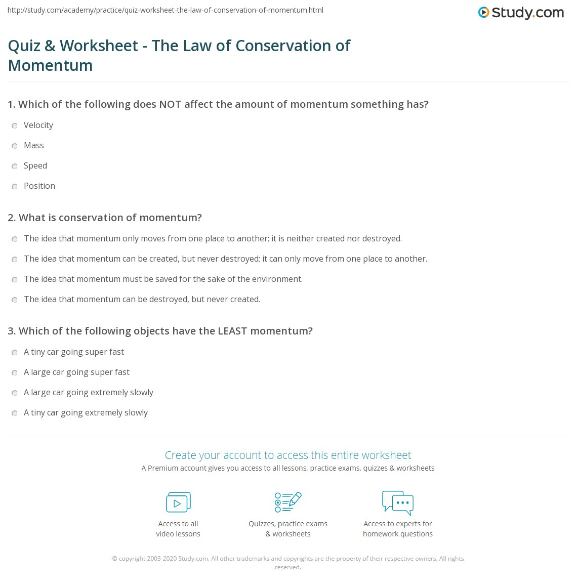 Quiz Worksheet The Law of Conservation of Momentum – Worksheet Conservation of Momentum