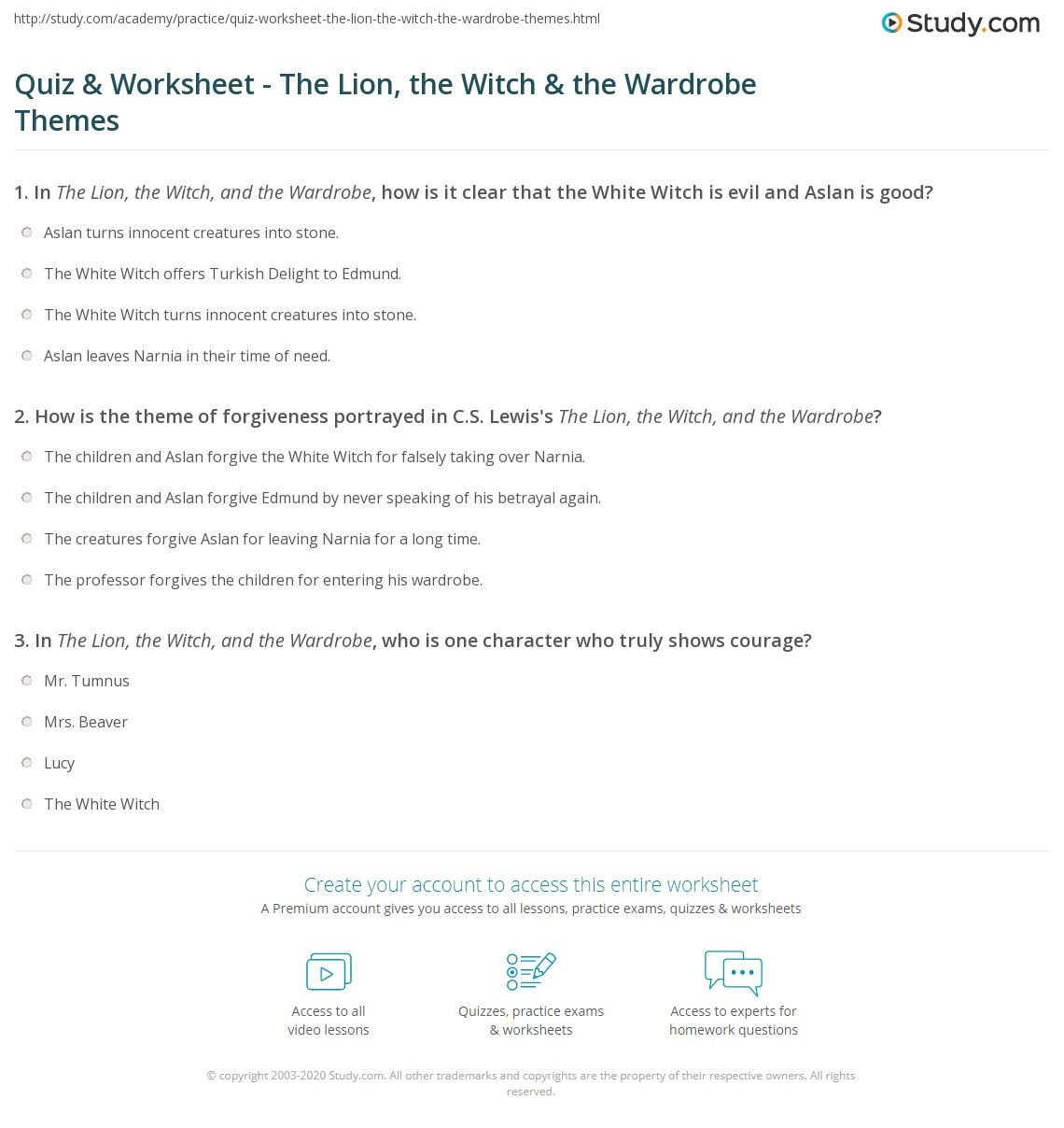 Quiz Worksheet The Lion the Witch the Wardrobe Themes – Forgiveness Worksheets