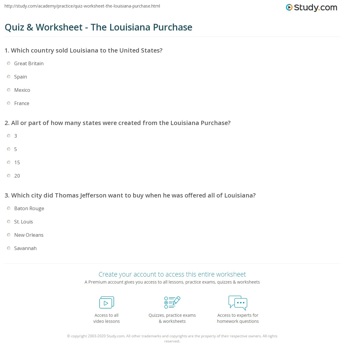 Printables Louisiana Purchase Worksheet quiz worksheet the louisiana purchase study com print of 1803 summary facts importance worksheet