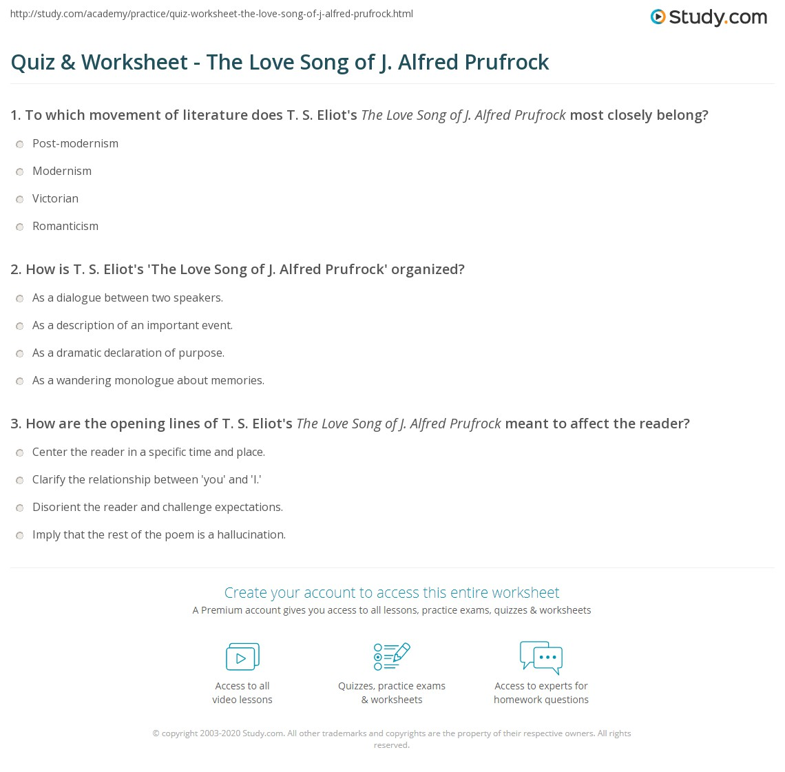 quiz worksheet the love song of j alfred prufrock com print the love song of j alfred prufrock overview and analysis worksheet