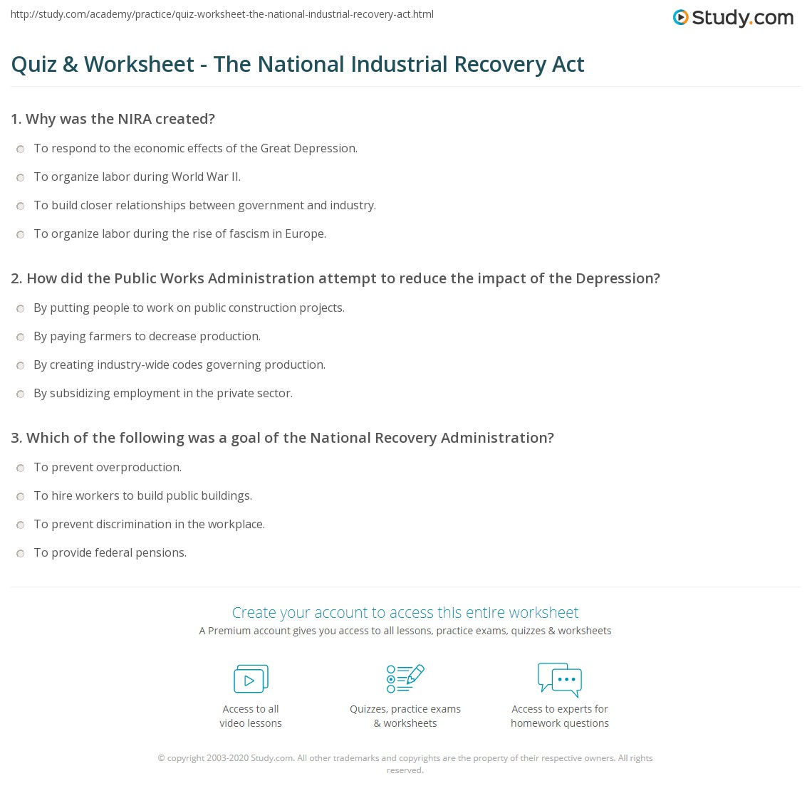 quiz worksheet the national industrial recovery act. Black Bedroom Furniture Sets. Home Design Ideas