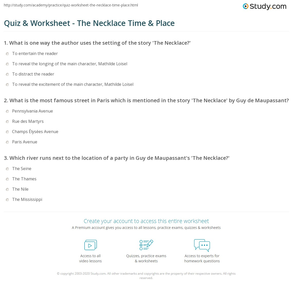 quiz worksheet the necklace time place com what is the most famous street in paris which is mentioned in the story the necklace by guy de maupassant