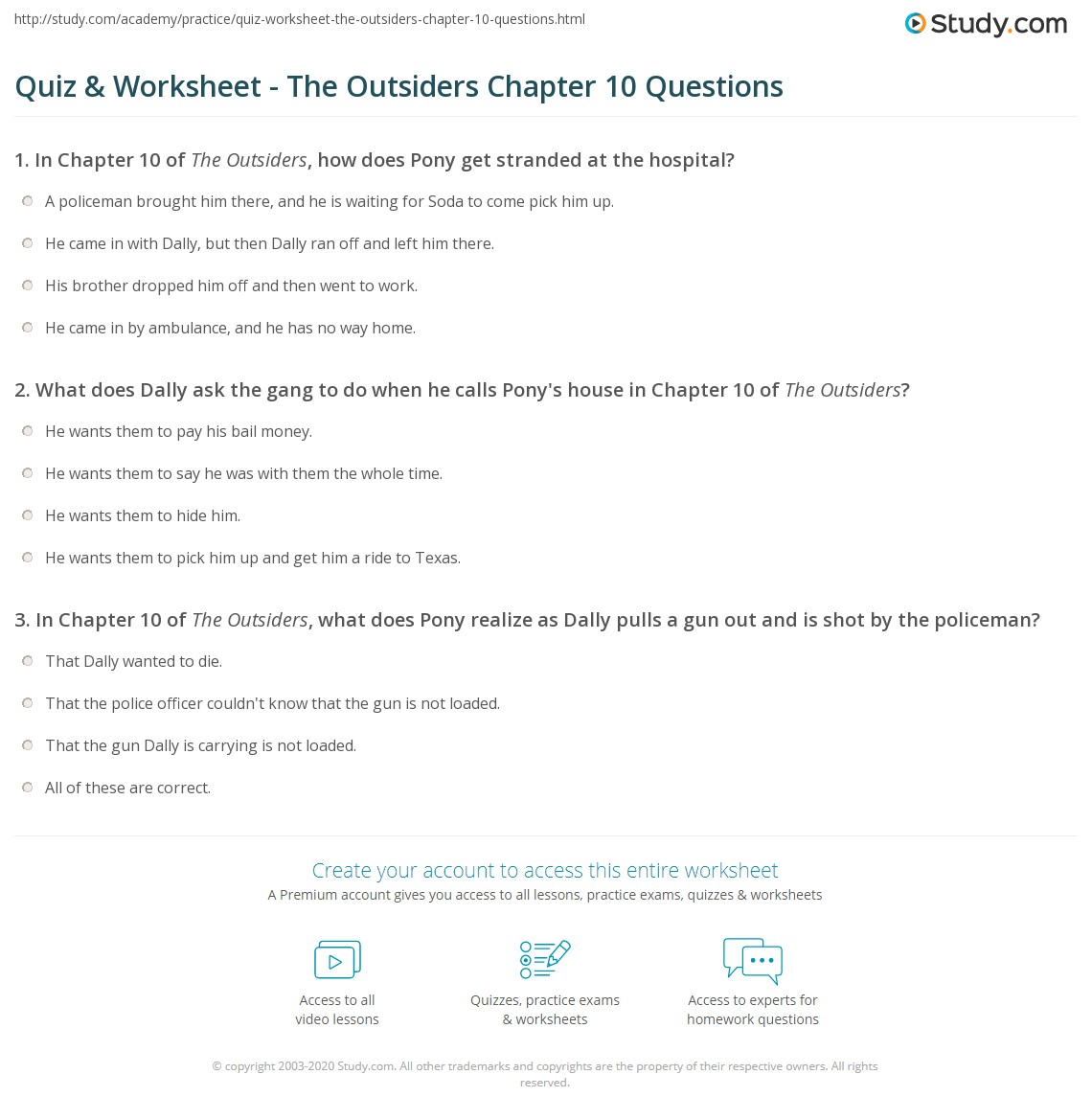 quiz worksheet the outsiders chapter questions com print the outsiders chapter 10 summary worksheet