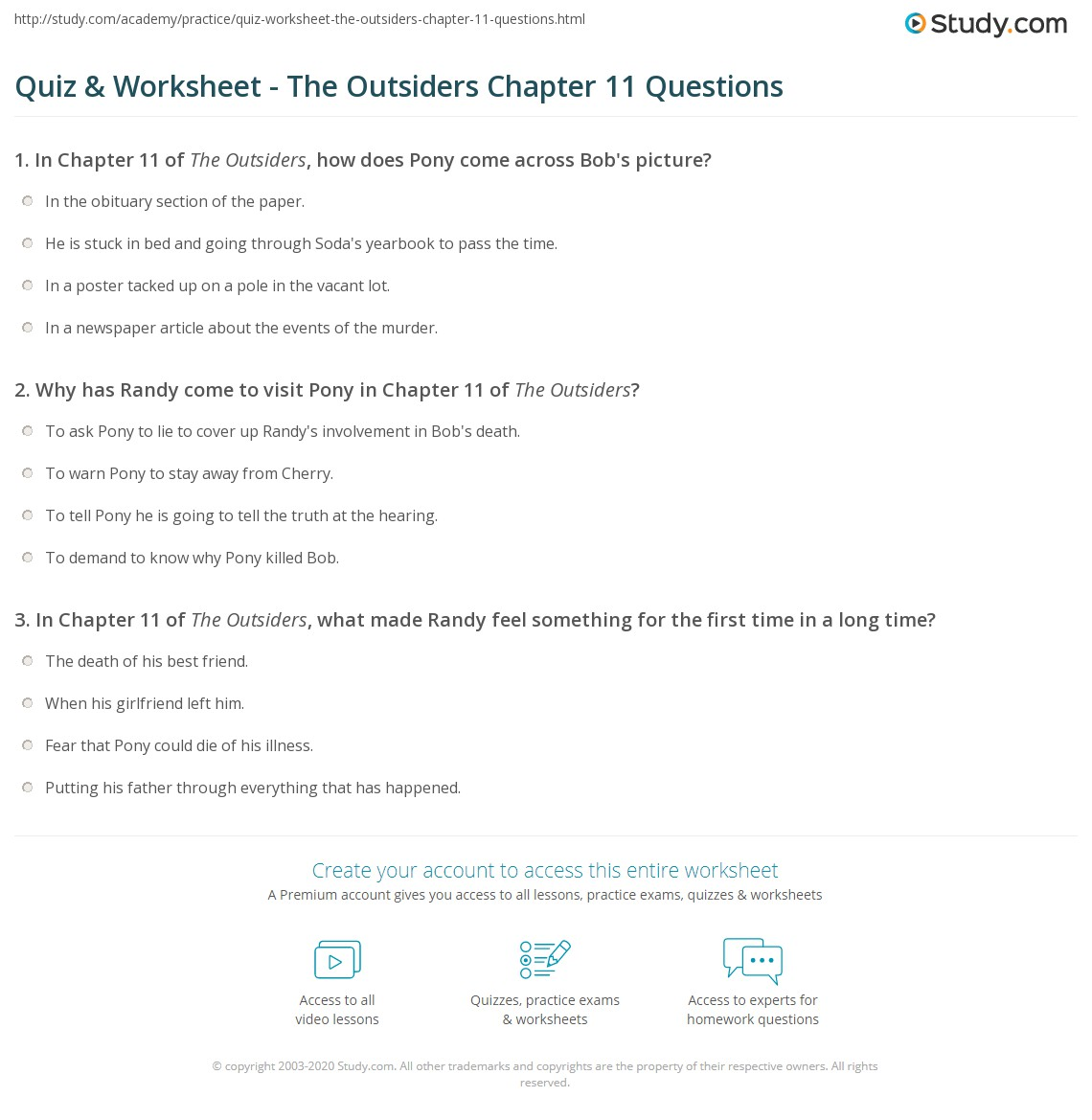 quiz worksheet the outsiders chapter 11 questions com print the outsiders chapter 11 summary worksheet