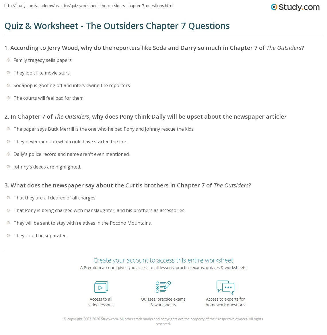 quiz worksheet the outsiders chapter questions com print the outsiders chapter 7 summary worksheet
