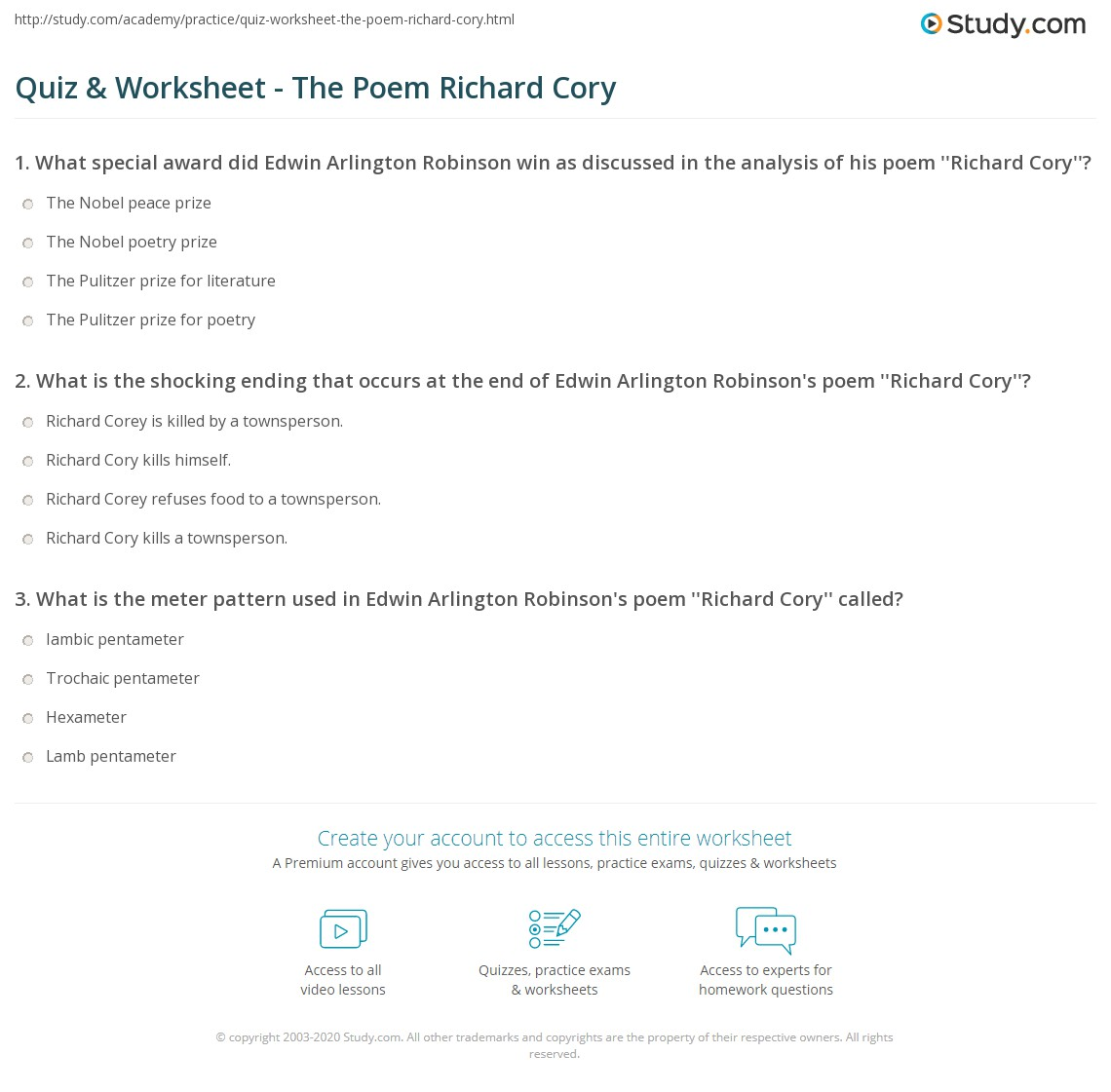 quiz worksheet the poem richard cory com print the poem richard cory analysis theme meaning worksheet