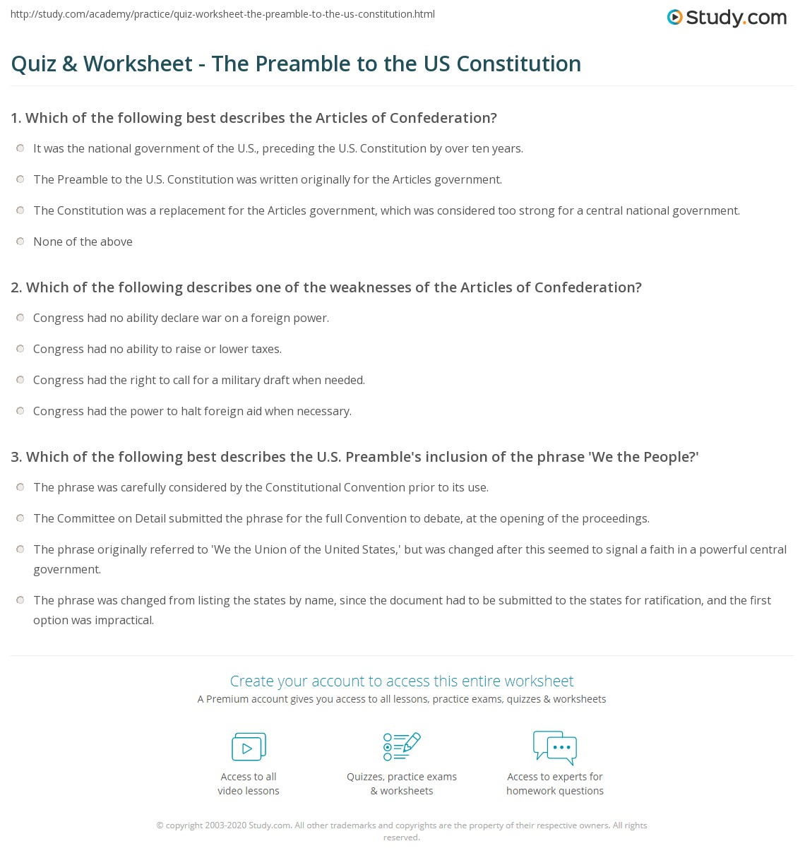 Quiz & Worksheet - The Preamble to the US Constitution | Study.com