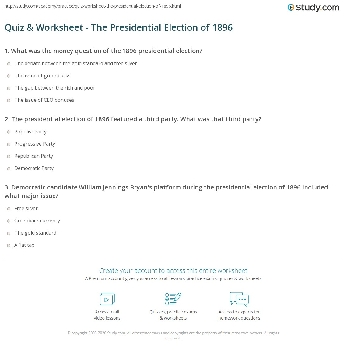 quiz worksheet the presidential election of com print the presidential election of 1896 worksheet