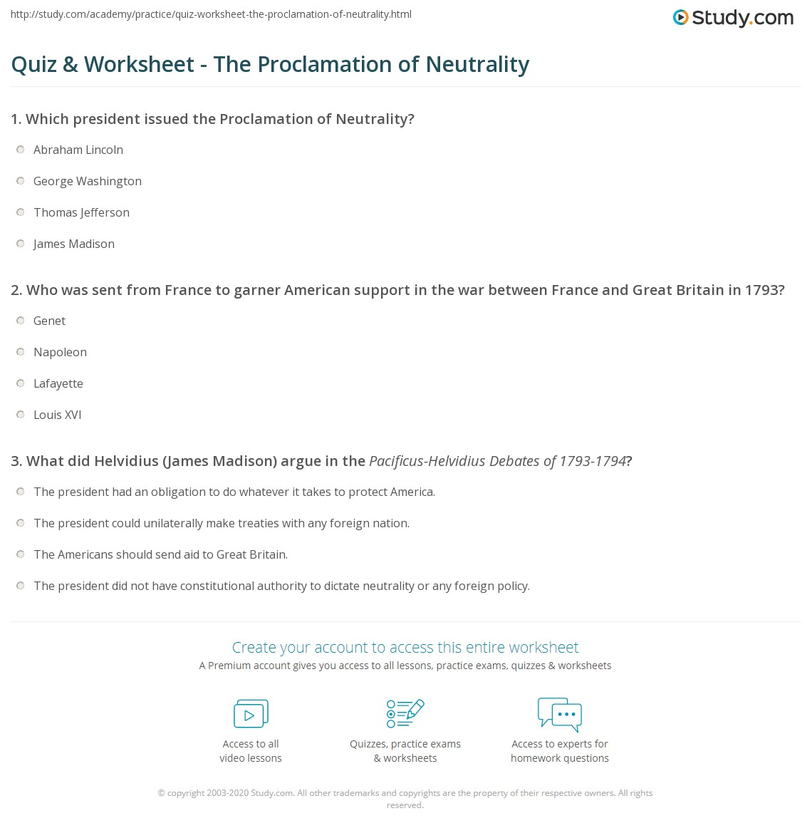 Quiz & Worksheet - The Proclamation of Neutrality | Study.com