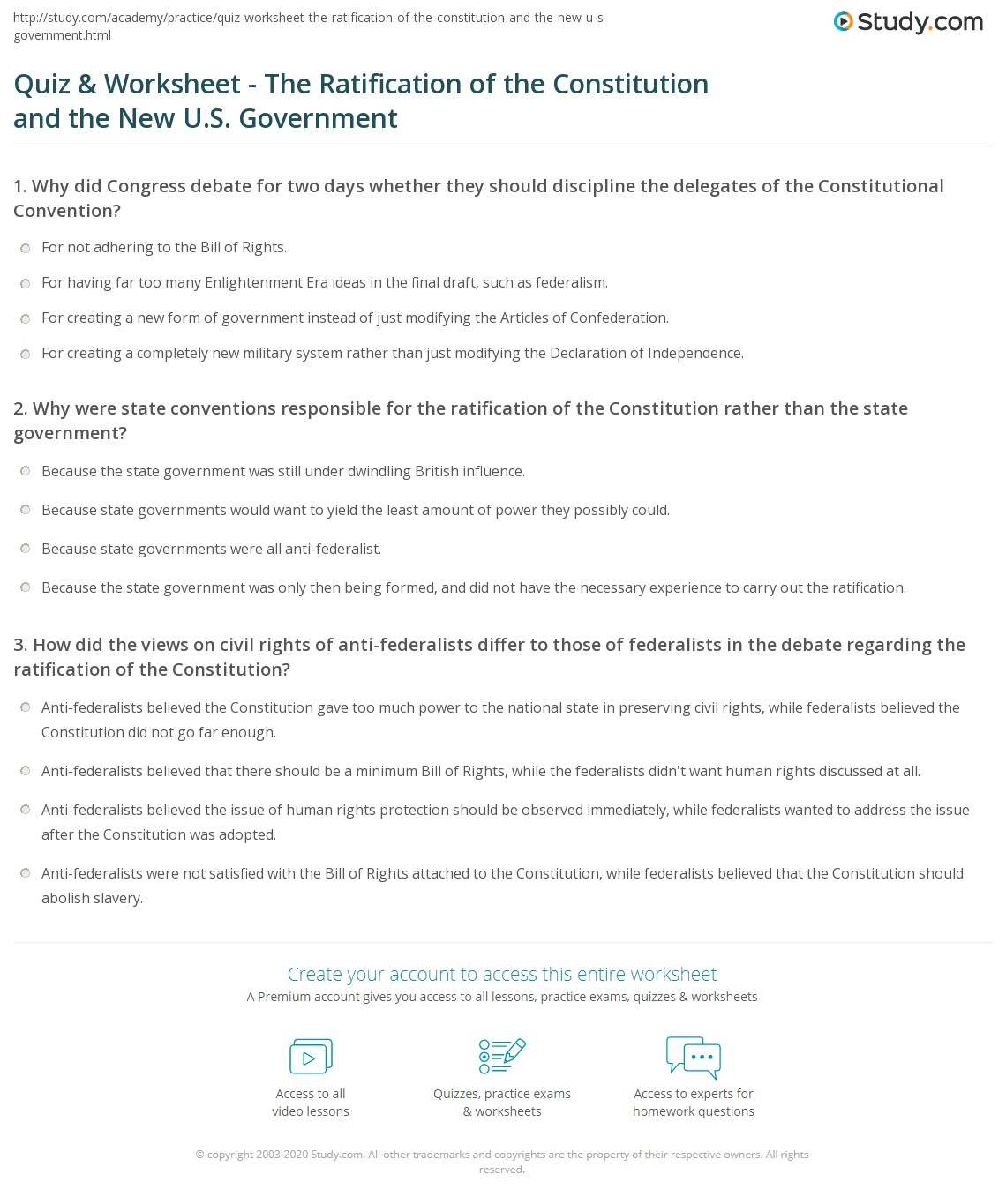 Printables The Constitution Worksheet quiz worksheet the ratification of constitution and print new u s government worksheet