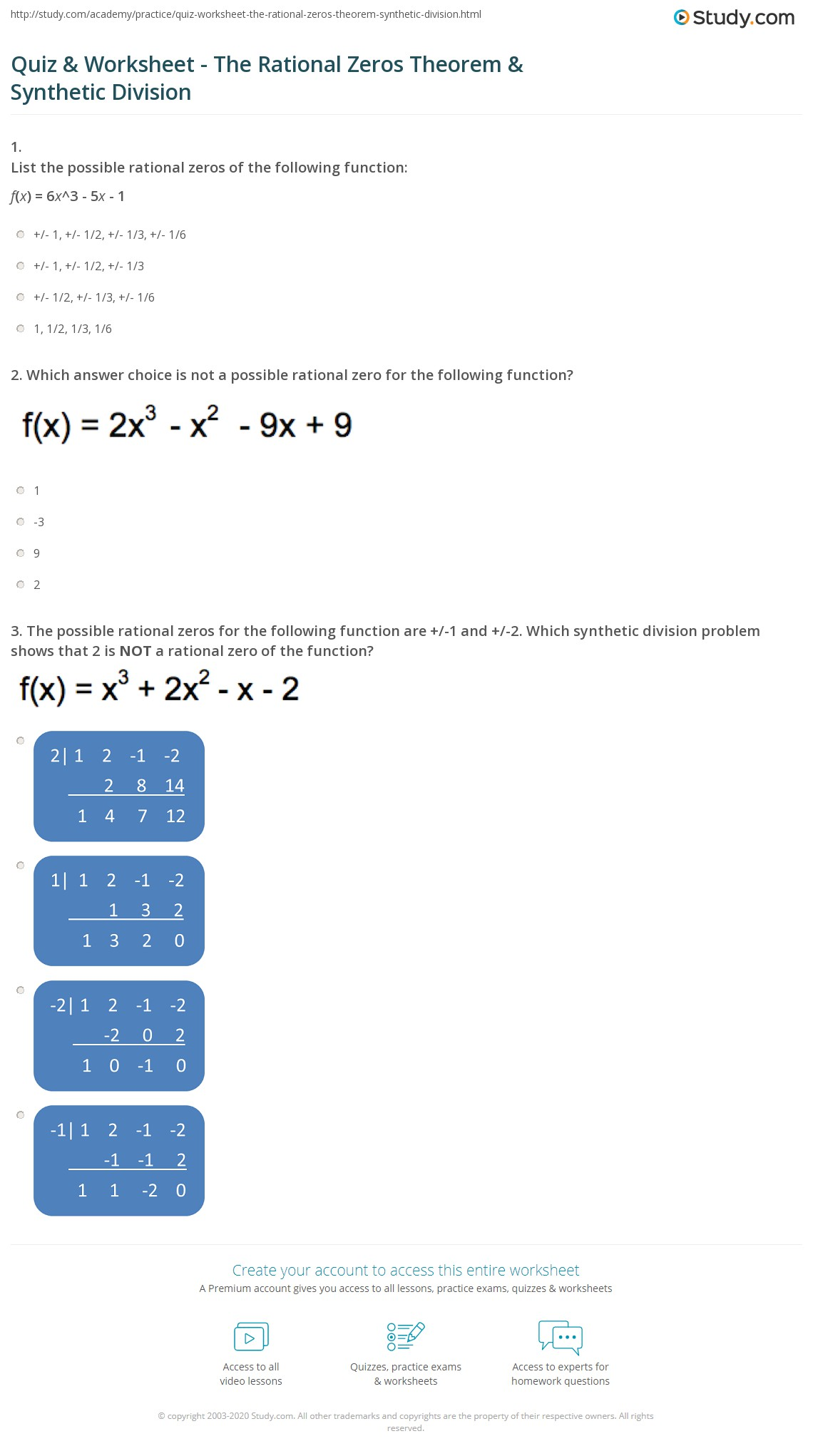 Quiz and Worksheet The Rational Zeros Theorem and Synthetic Division – Synthetic Division Worksheets