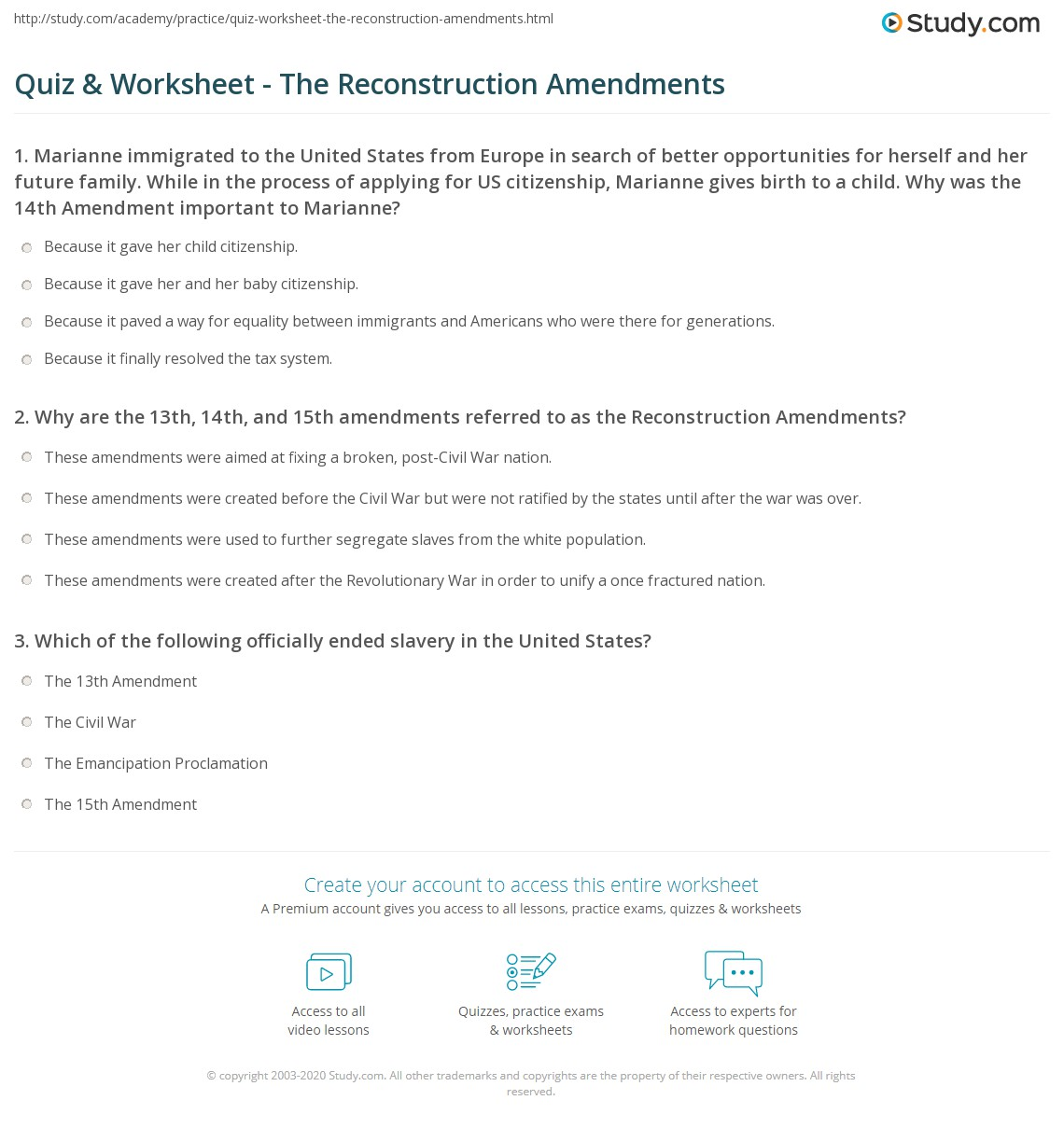Quiz Worksheet The Reconstruction Amendments – Reconstruction Worksheets