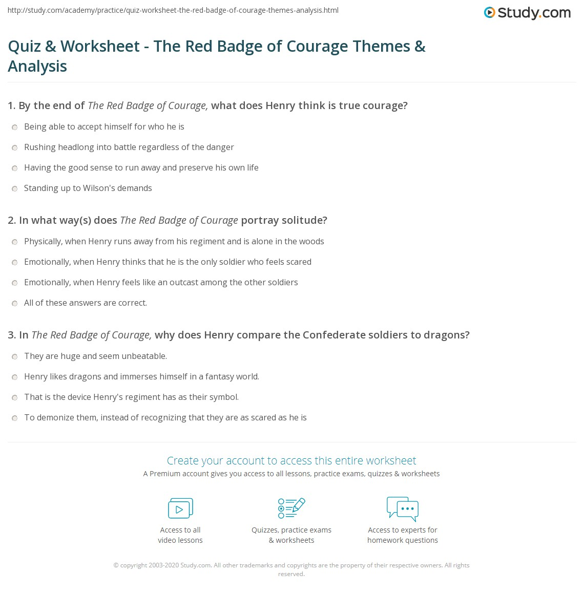 quiz worksheet the red badge of courage themes analysis print the red badge of courage themes analysis worksheet