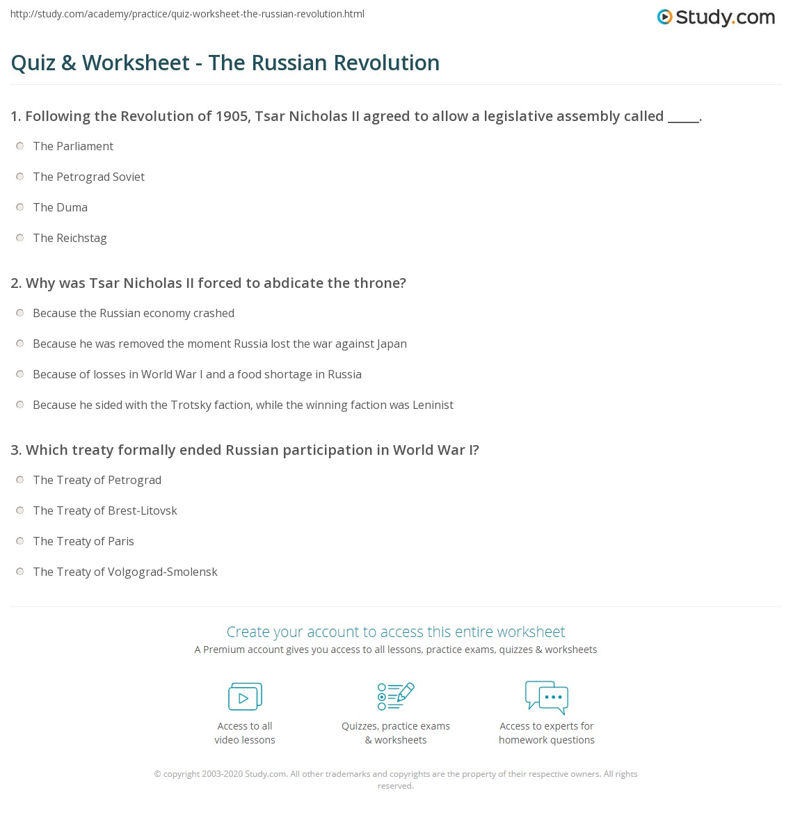 Worksheets Russian Revolution Worksheet quiz worksheet the russian revolution study com print timeline causes effects worksheet