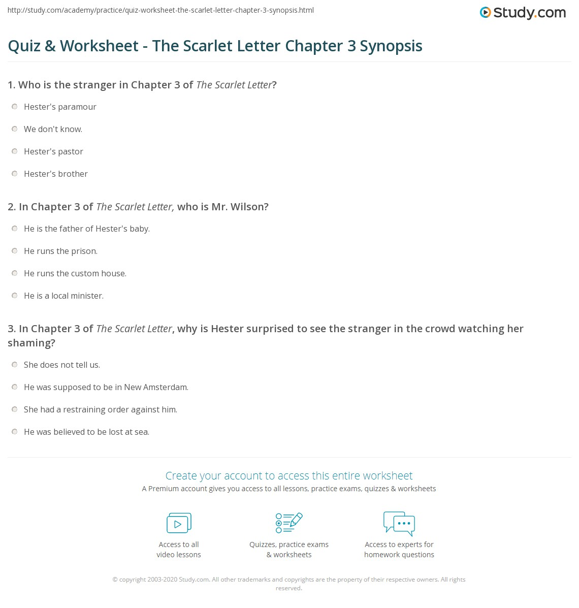 Quiz & Worksheet - The Scarlet Letter Chapter 3 Synopsis | Study.com