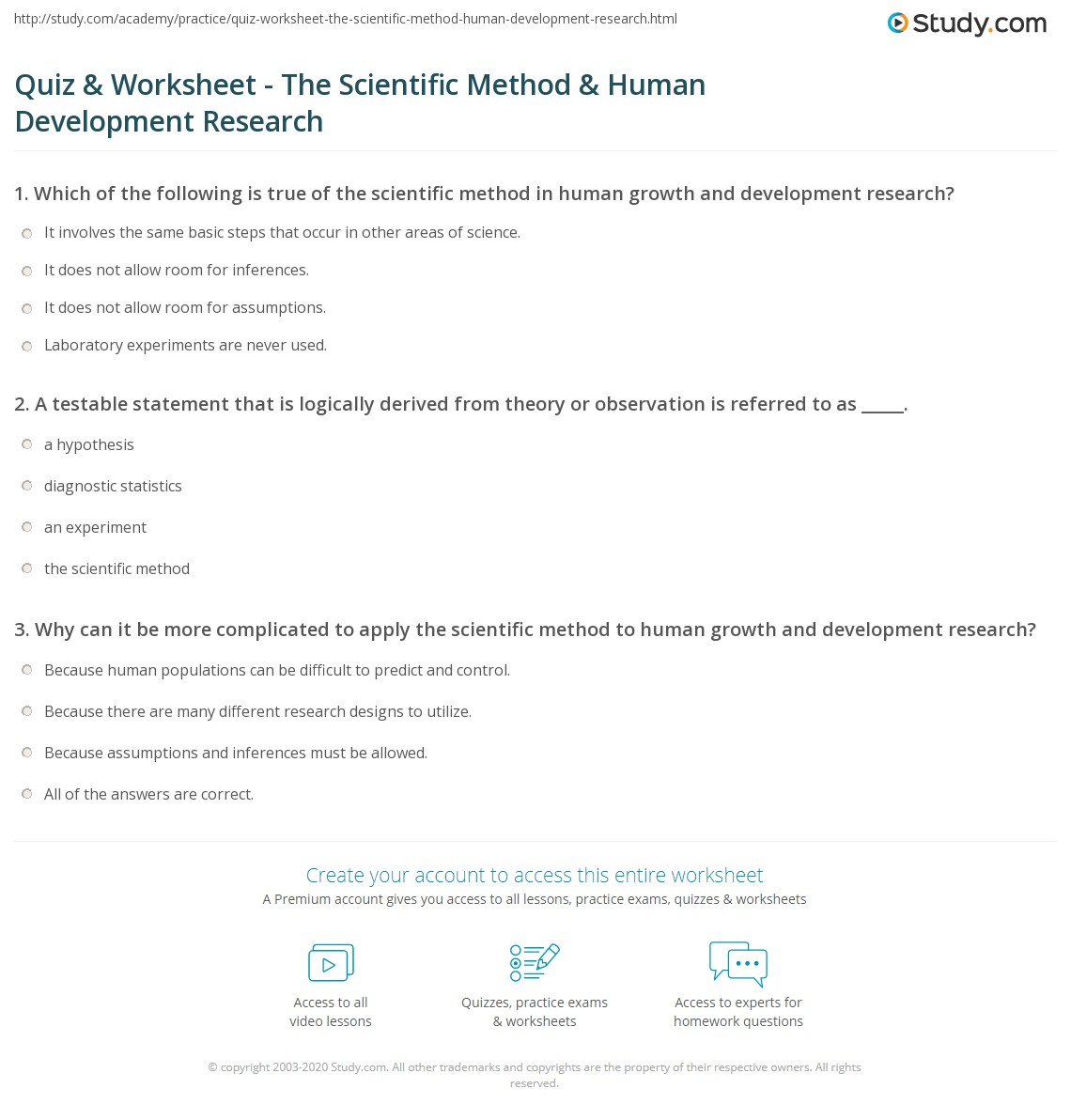 quiz worksheet the scientific method human development print scientific method applications to human growth and development research worksheet
