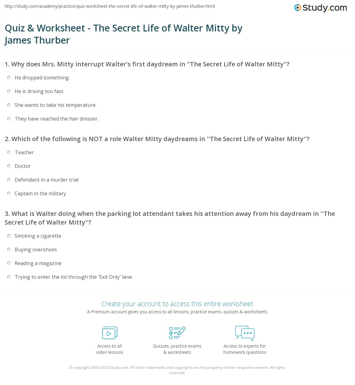 quiz worksheet the secret life of walter mitty by james print the secret life of walter mitty short story summary worksheet