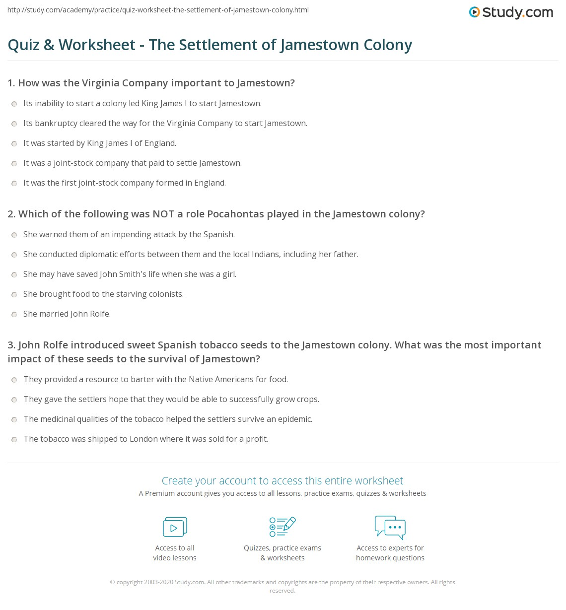 Quiz & Worksheet - The Settlement of Jamestown Colony | Study.com