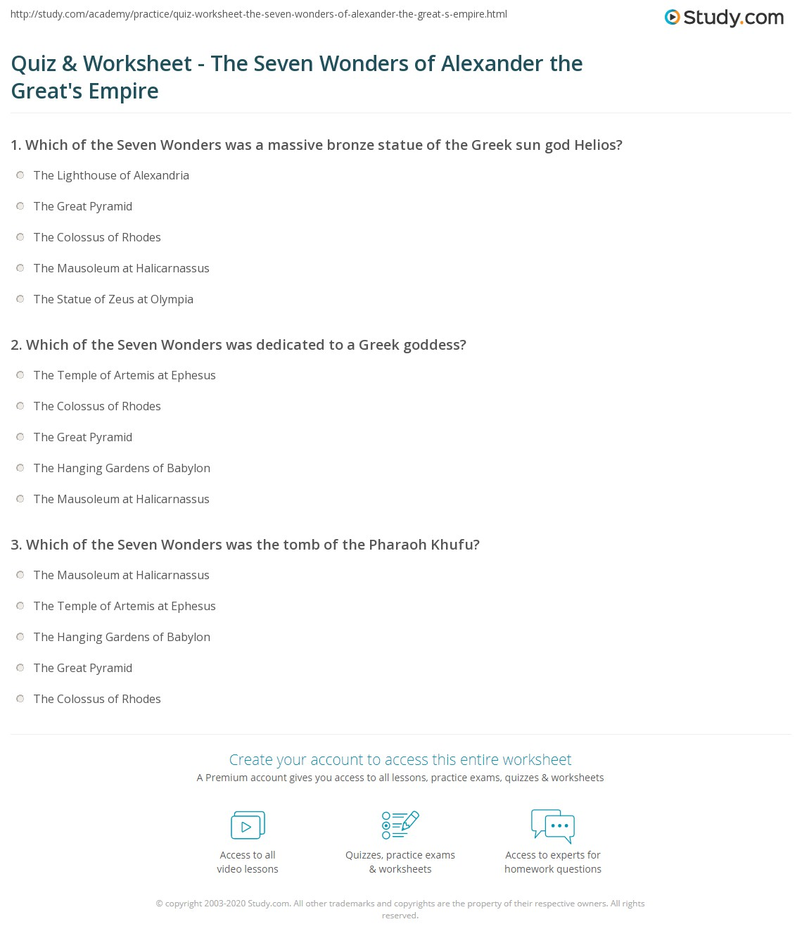 quiz worksheet the seven wonders of alexander the great s print the seven wonders of alexander the great s empire worksheet