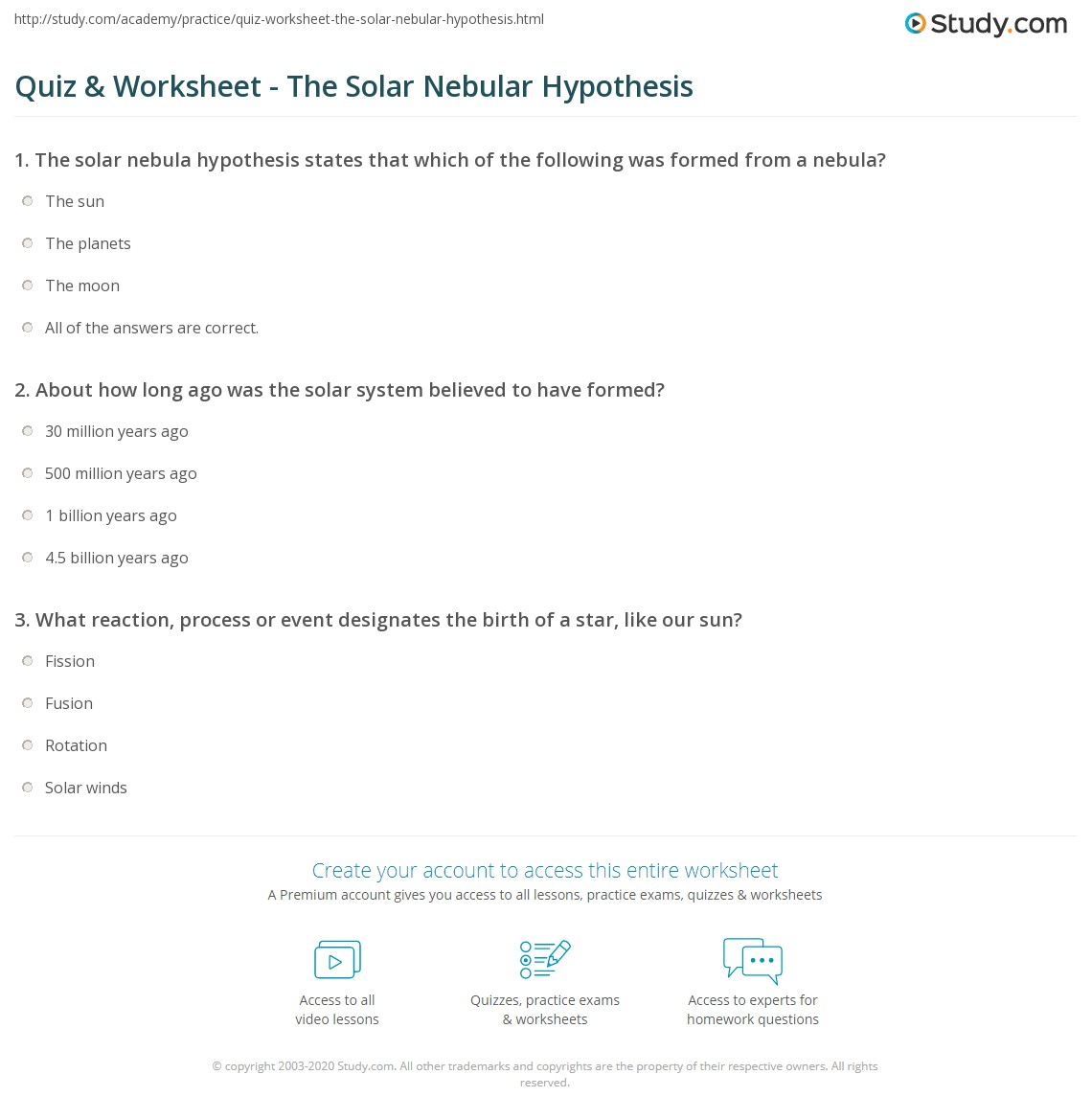Quiz Worksheet The Solar Nebular Hypothesis – Fission Fusion Worksheet