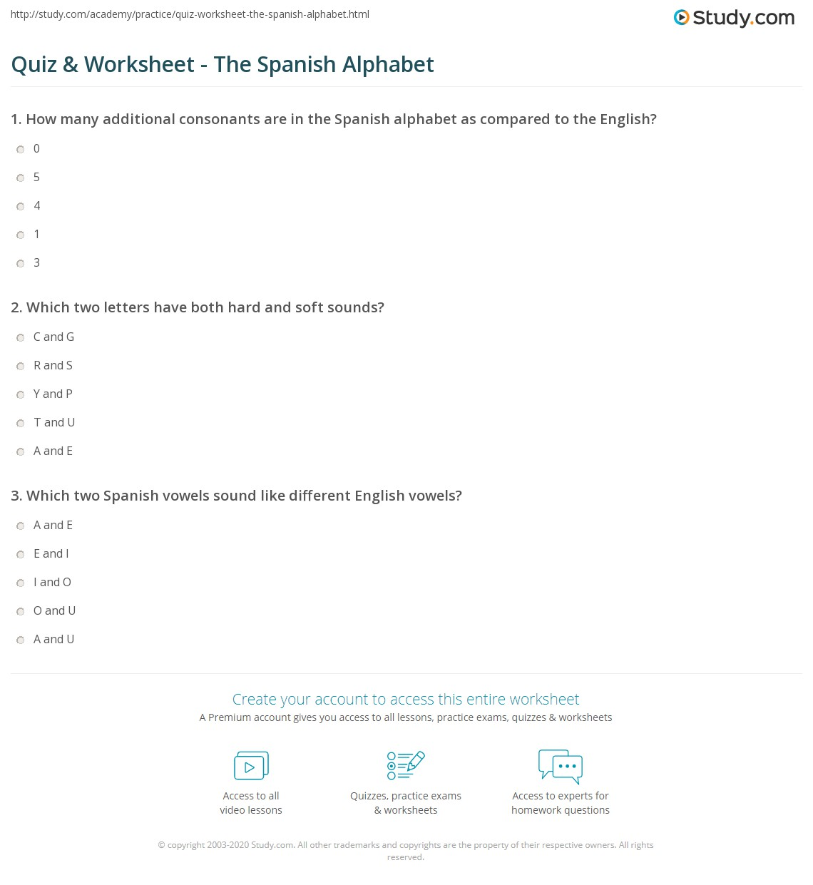 Quiz & Worksheet - The Spanish Alphabet | Study.com