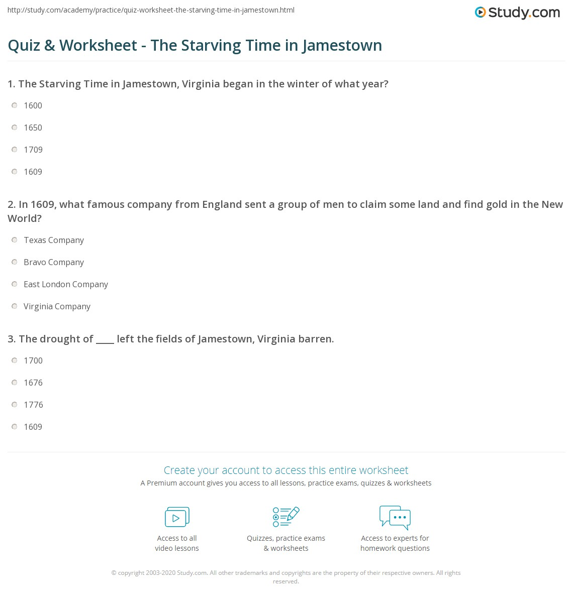 Printables Jamestown Worksheet quiz worksheet the starving time in jamestown study com print definition john smiths role worksheet
