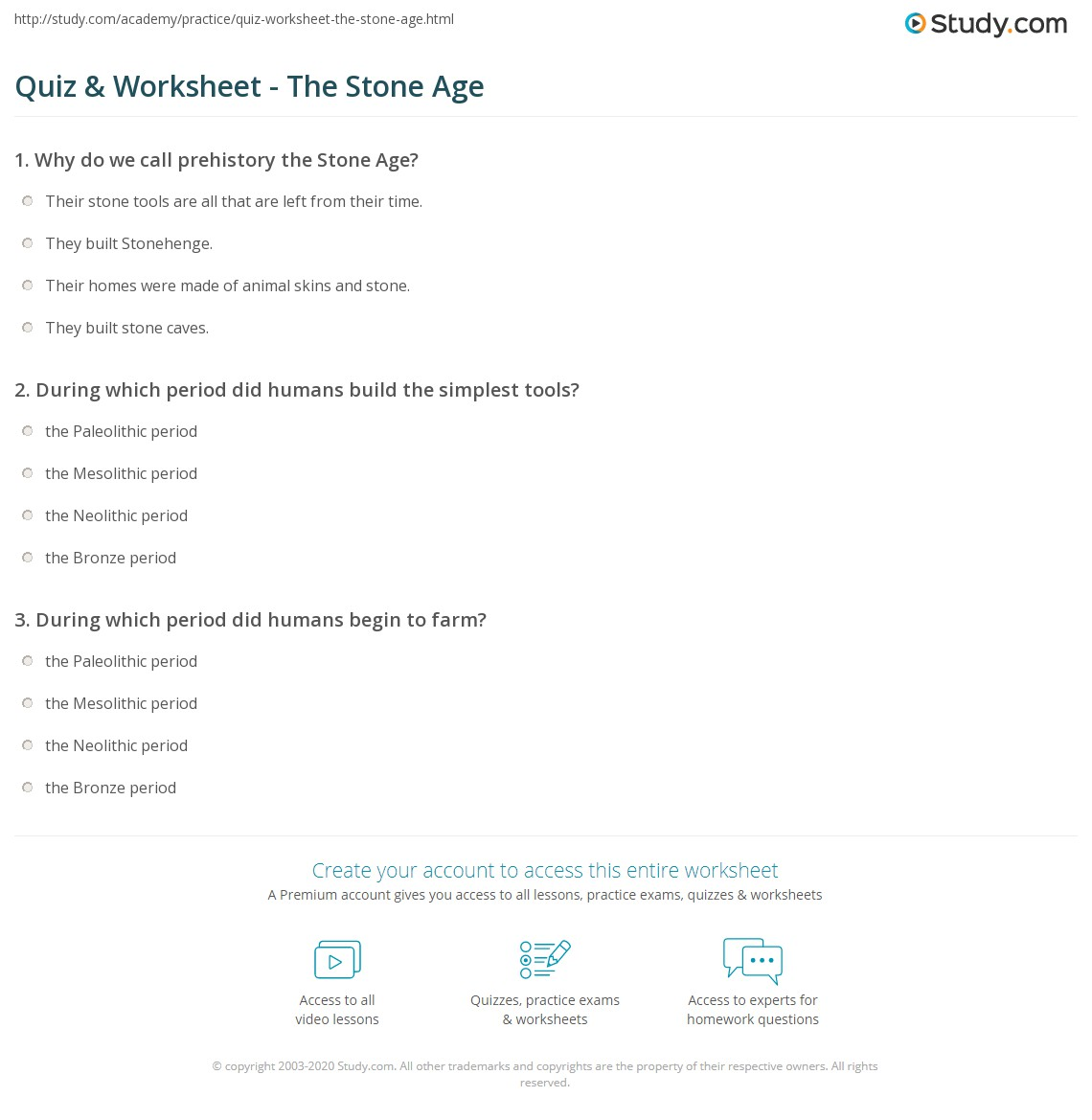 Quiz & Worksheet - The Stone Age | Study.com