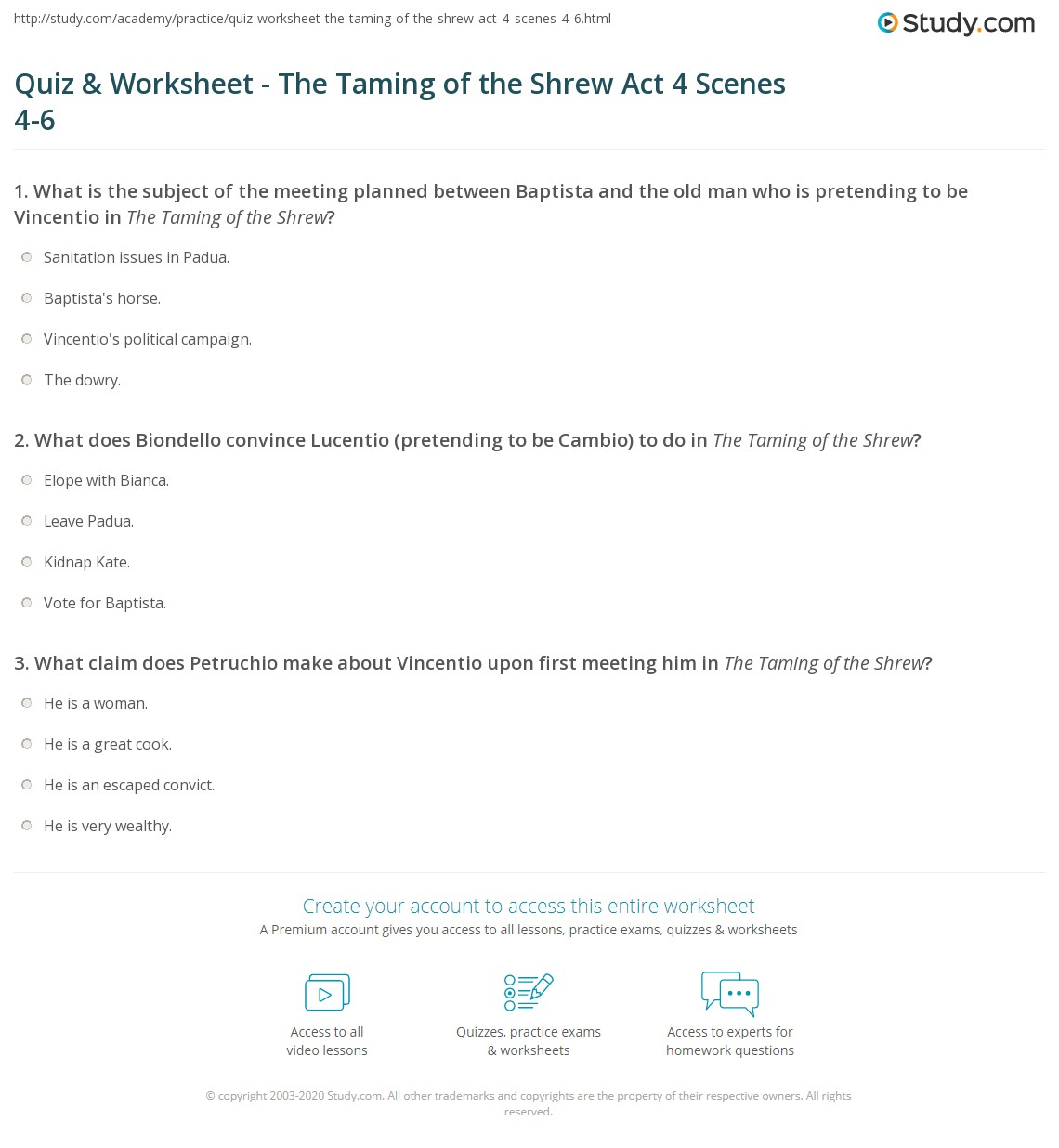 quiz worksheet the taming of the shrew act scenes  print the taming of the shrew summary act 4 scenes 4 6 worksheet