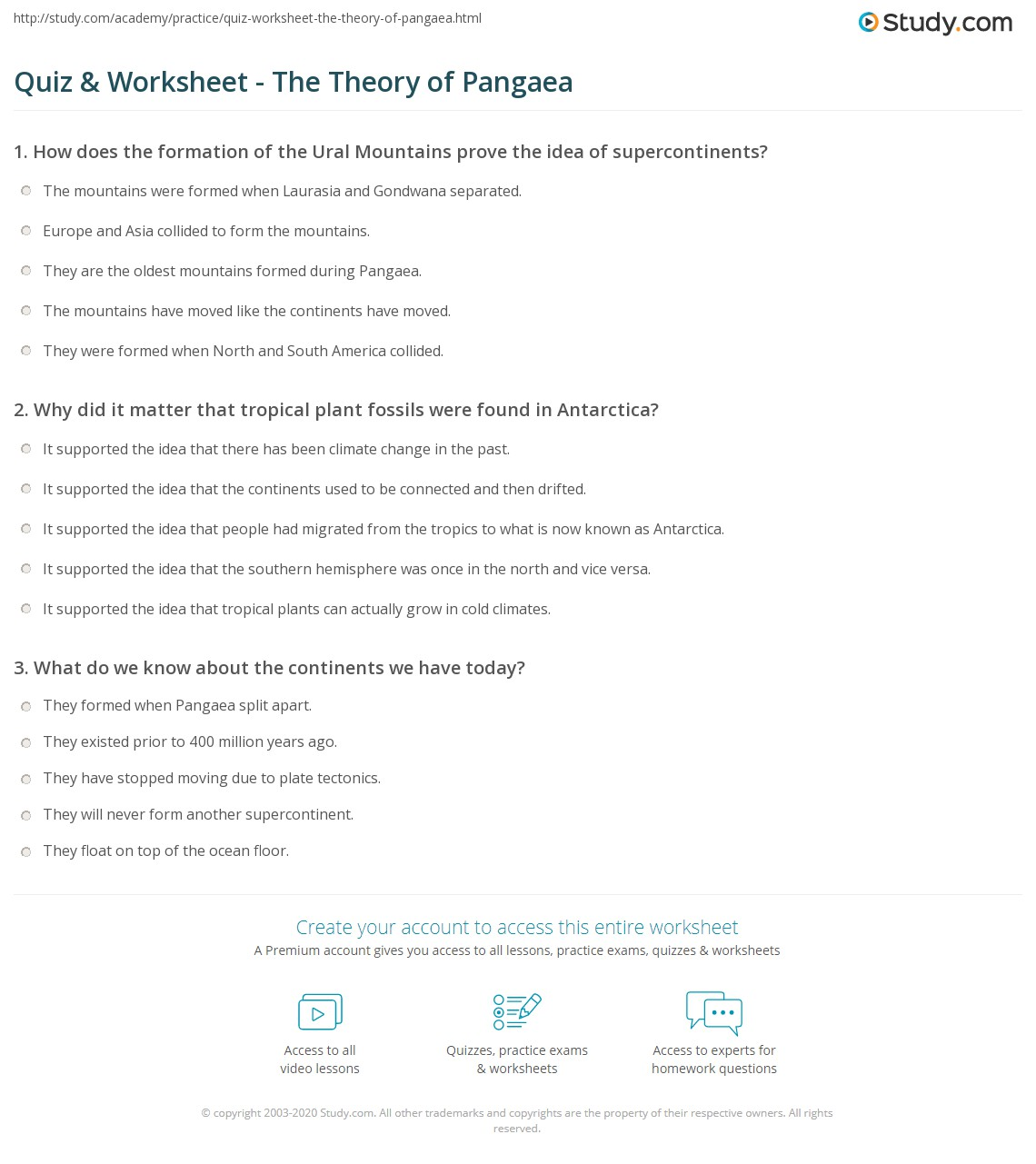 Printables Pangaea Worksheet quiz worksheet the theory of pangaea study com print what is definition worksheet