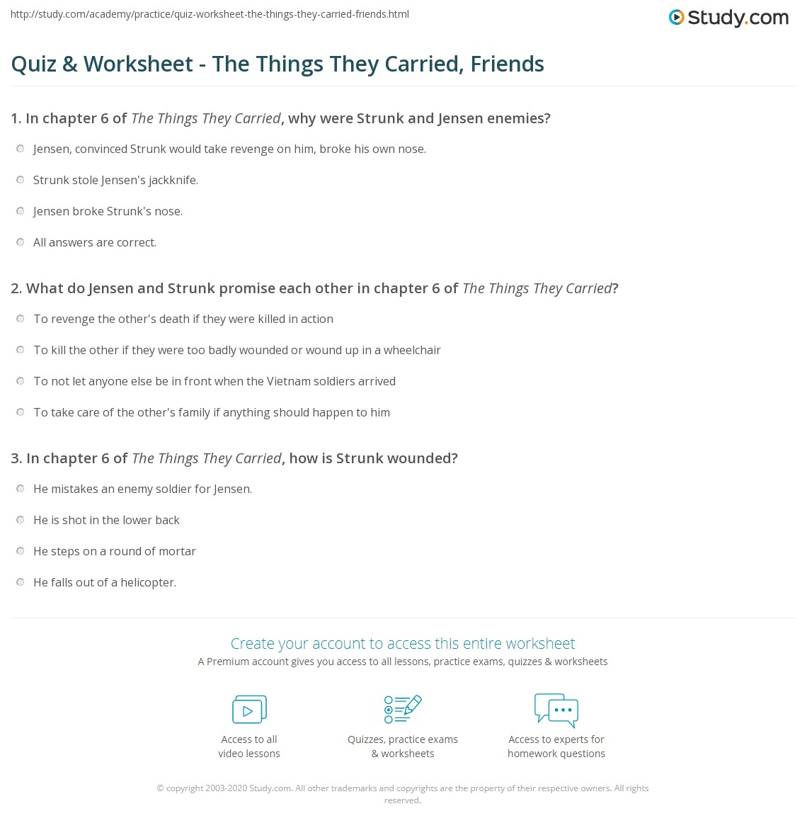 Quiz amp worksheet the things they carried friends study com