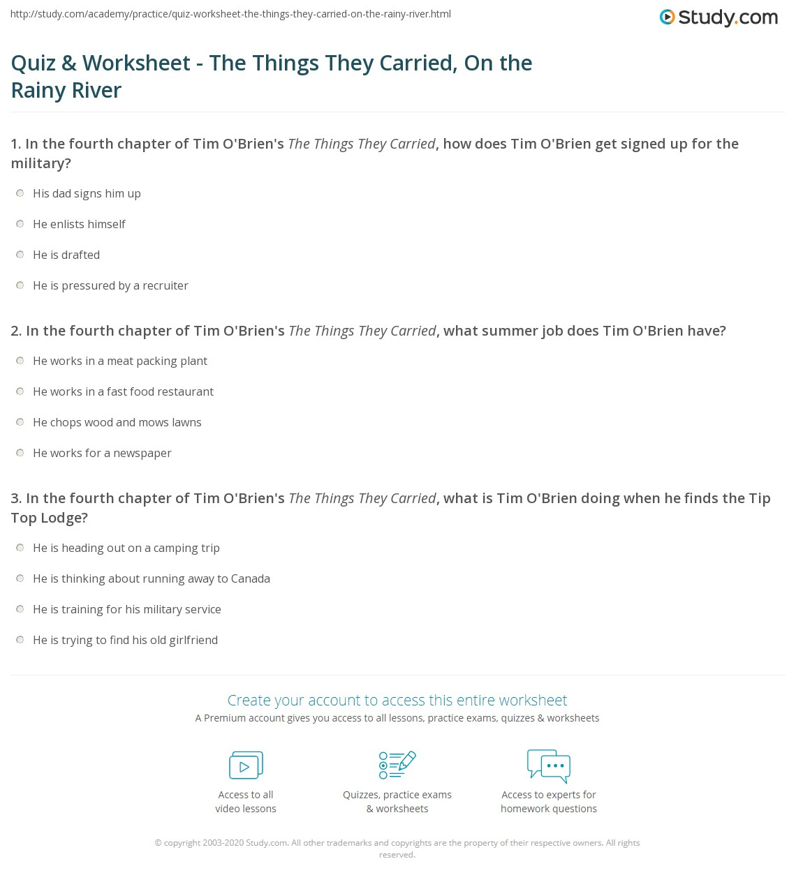 quiz worksheet the things they carried on the rainy river print the things they carried chapter 4 on the rainy river summary worksheet