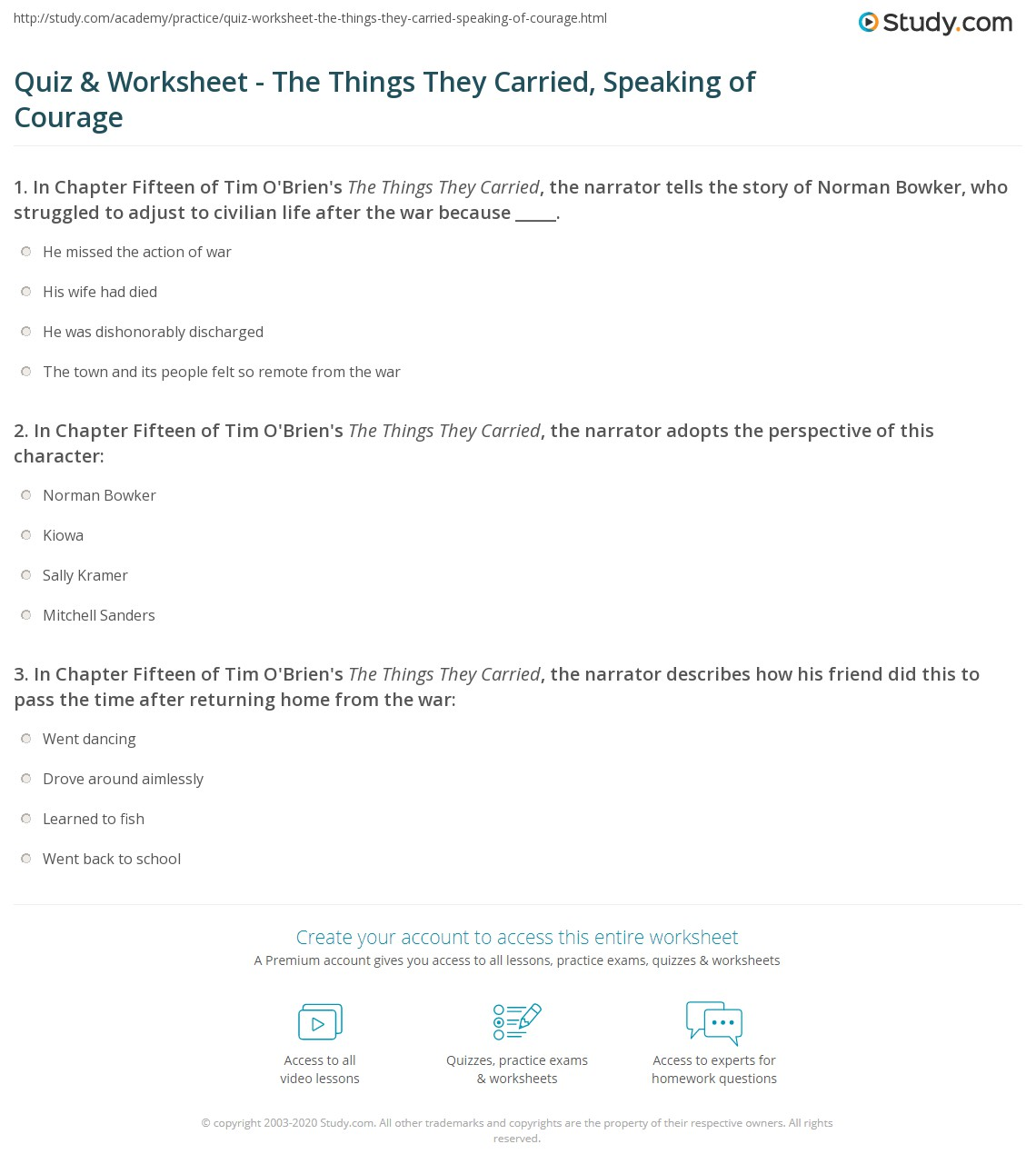quiz worksheet the things they carried speaking of courage print the things they carried speaking of courage chapter 15 summary worksheet